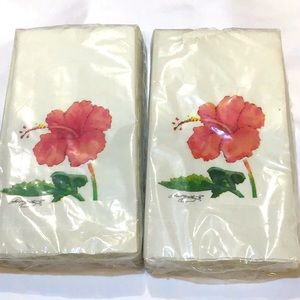NWT 2 pkgs guest towels hibiscus decoration
